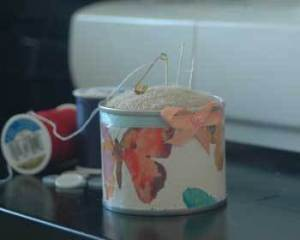 Sock Pin Cushion in Can