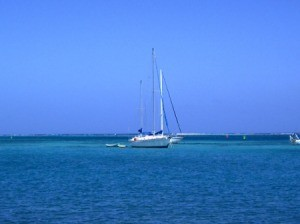 Christiansted (St.Croix, US Virgin Islands), sailboat on the ocean.