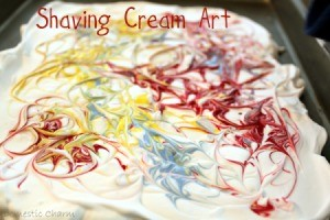 Paint swirled into cream.