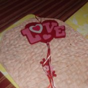 Completed hanging felt heart.