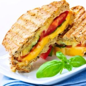 Healthy grille cheese with tomatoes.