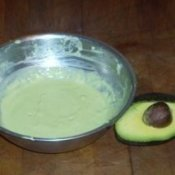 Dish of avocado treatment.