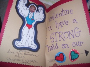 Completed strongman card, including view on inside message.