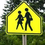 Yellow crosswalk sign.