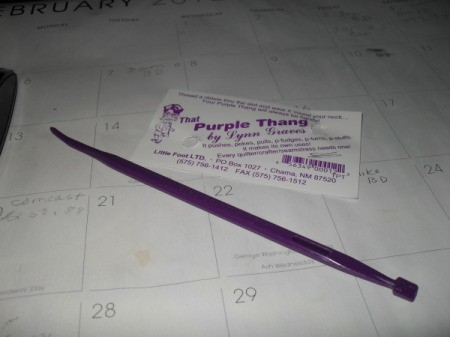 "Helpful Tools While Sewing, a ""Purple Thang"" to turn out corners."
