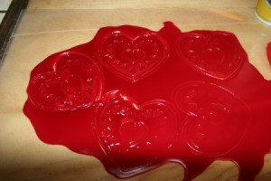 Recycled Candle Wax Air Freshener - Wax cut with cookie cutters.