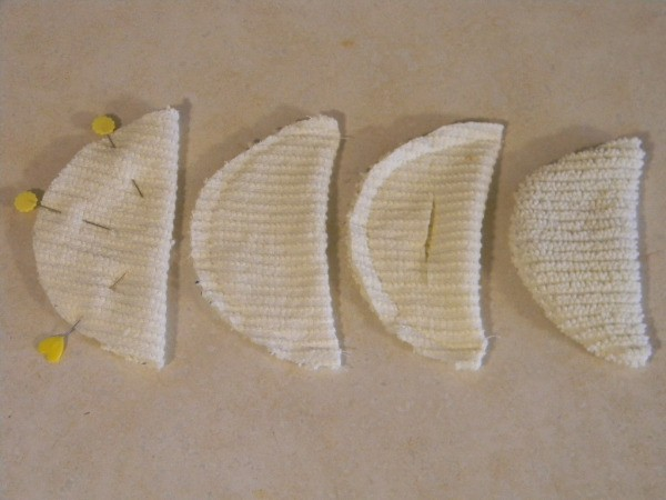 Easter Chick - Steps for sewing wings.