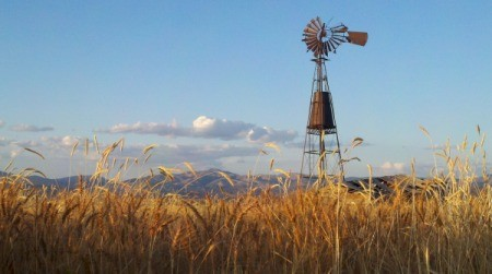 A landscape in Montana with a windmill, mountains and fields.