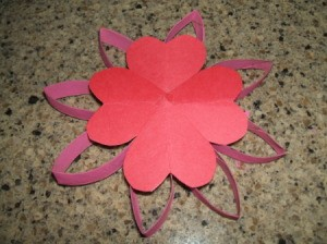 Heart flower on top of  tube petals.