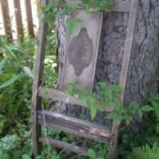 Reuse Chair Back As Trellis in the garden.