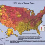 A map of the US with Radon levels marked.