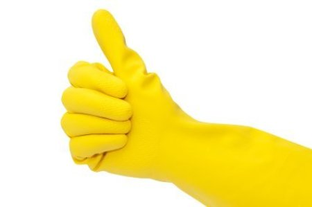 Photo of a yellow rubber glove.