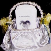Wedding programs in a basket.