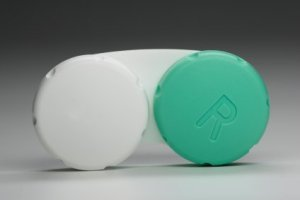 Uses for Contact Lens Cases, Green and white contact lens case.