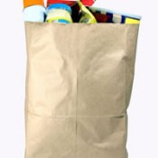 A paper bag full of groceries.