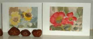 Watercolor painted flower cards.