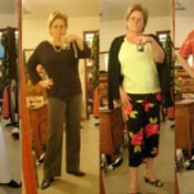 A woman taking pictures of herself in different outfits.