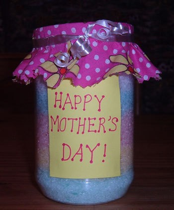 A jar of bath salts for Mother's Day.