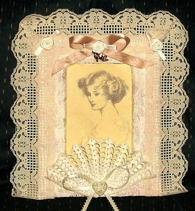 A lace covered vintage frame.