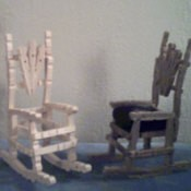 A rocking chair made from clothespins, for a doll or dollhouse.