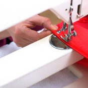 Sewing stretchy fabric with a sewing machine.