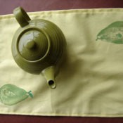 Pear printed tea towel.