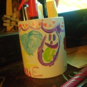 Walmart Paint-a-Mug Kit after it has been decorated.