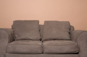Brown microfiber couch.