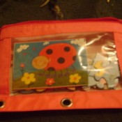 Pencil bag holding picture of puzzle (cut out from box) and pieces