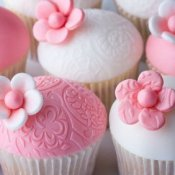Pink and white cupcakes.