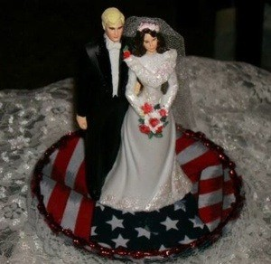 A patriotic wedding cake topper.