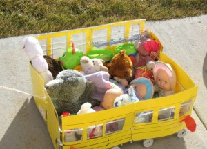 Completed cart loaded with toys.