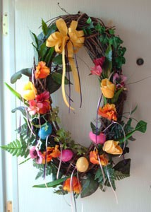 Easter Egg Wreath with Flowers