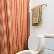 Striped shower curtain in bathroom