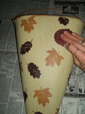 Sanding original bucket finish.