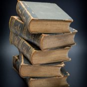Stack of very old encyclopedias.