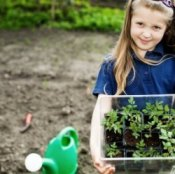 Girl Holding Seedlings