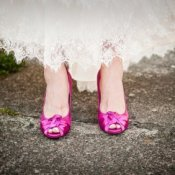 Pink wedding shoes.