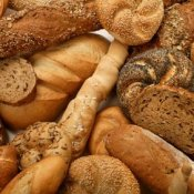 Lots of different types of bread.