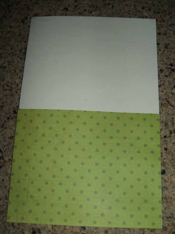 Green scrapbook paper on bottom half of card.