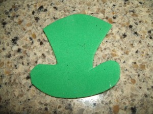Leprechaun Hat Napkin Rings - Green foam hat.