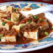 Spicey Chinese dish made with tofu, minced pork, and spicy sauce.