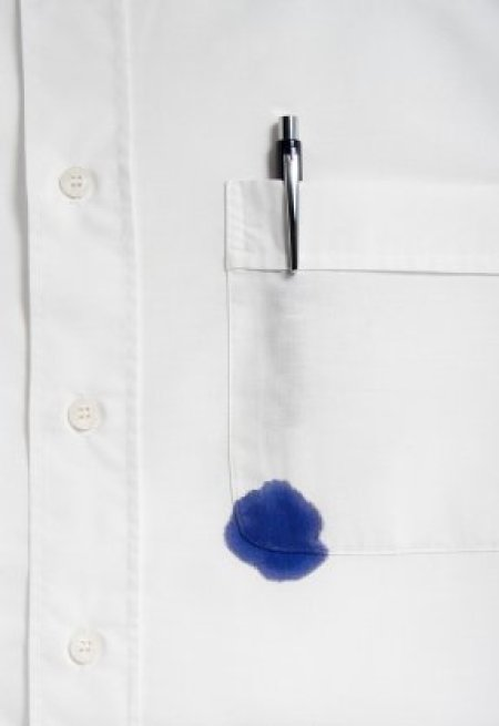 Ink stain on a white shirt.