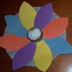 Multicolored coffee filter flower.