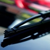 Windshield wiper tip on windshield