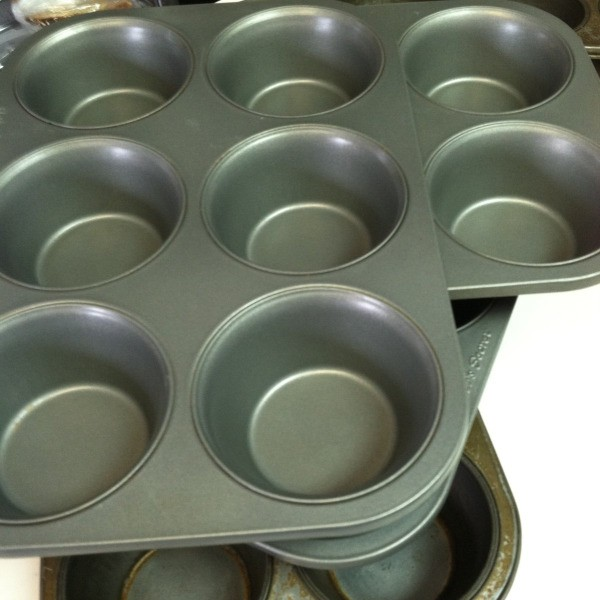 A stack of muffin tins.