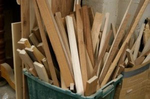 Bin of scrap wood.