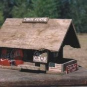 A bird house made form scavenged wood.