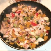"Large pan holding cooked ""End of Month Stir Fry"""