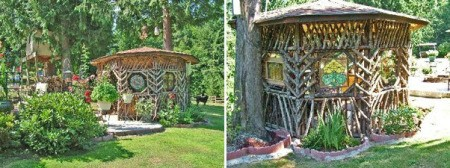 gazebo made from found wood